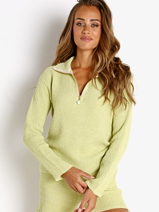Model in lime + freshwater pearl DONNI. Waffle 1/2 Zip Pullover