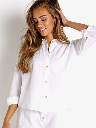 Model in white + tortoise buttons DONNI. Pop Shirt