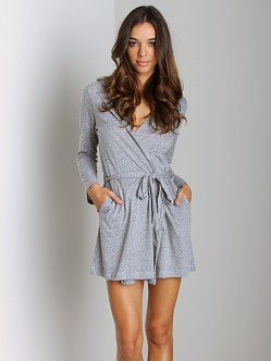 Eberjey Heather Hoodie Robe Grey