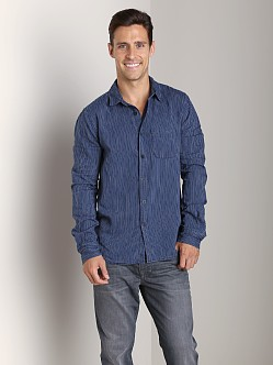 Joe's Jeans Relax Round Pocket Shirt Indigo Stripe