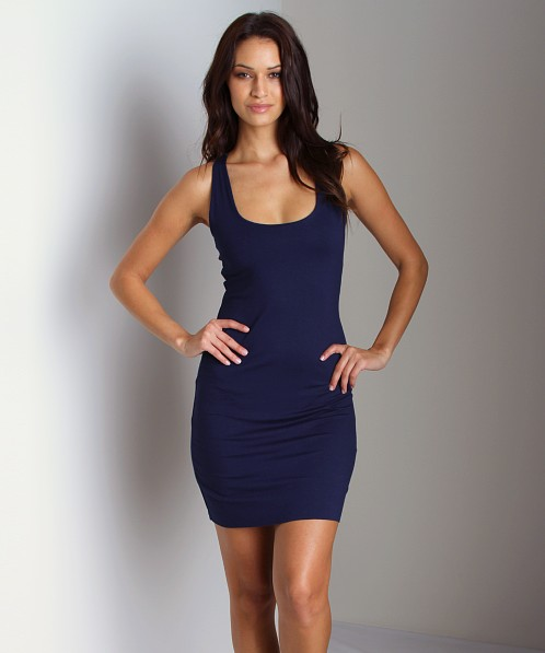 Three Dots Racerback Tank Dress Navy