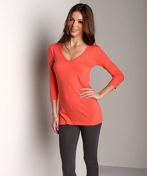 Three Dots 3/4 Sleeve Tunic Moroccan Coral