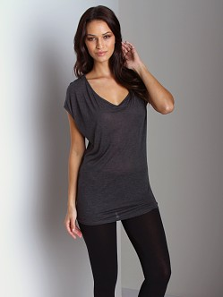 Three Dots Sheer Cap Sleeve Shirt Charcoal