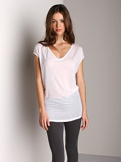 Three Dots Sheer Cap Sleeve Shirt White