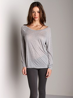 Three Dots Sheer Jersey Long Sleeve Top