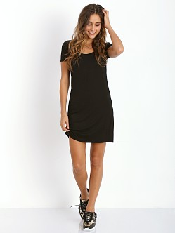 Three Dots Light Weight Short Sleeve Scoop Dress Black