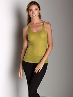 Three Dots Rib Racerback Tank Pale Olive