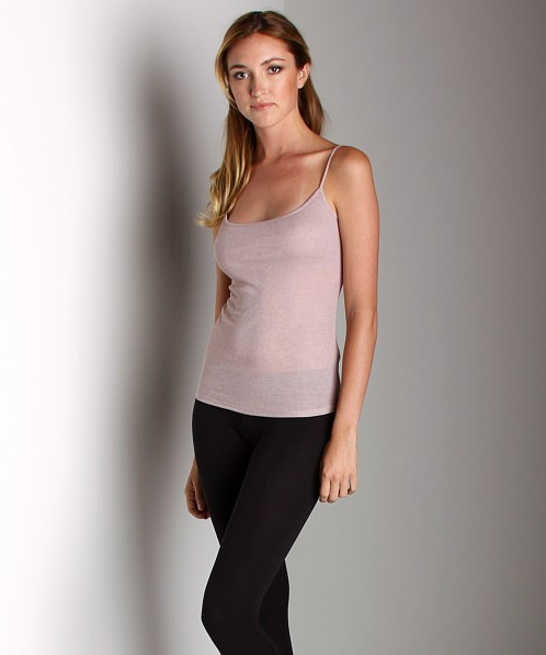 Three Dots Sheer Rib Camisole with Shelf Bra Pink Heather