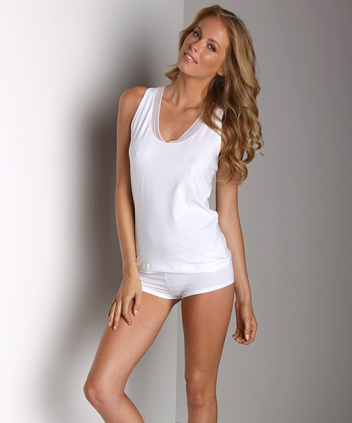 Calvin Klein Luxe Tank With Lace White