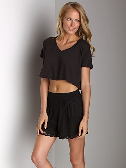 Free People V-Neck Crop Top Black