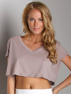 Free People V-Neck Crop Top Mushroom