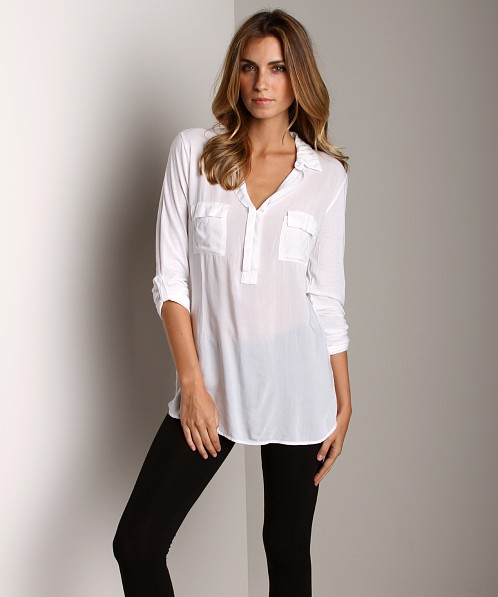 Splendid Shirting Long Sleeve Top White