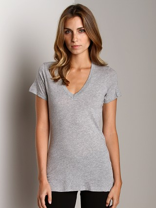 Splendid Light Weight Jersey V-Neck Heather Grey