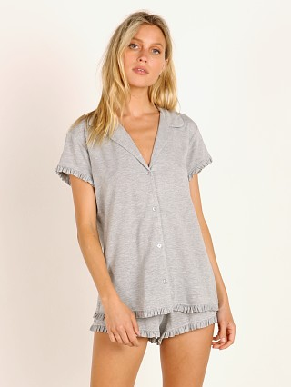 Model in heather grey Eberjey Ruthie Ruffle PJ Set