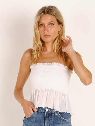 Complete the look: Indah Greta Solid Smocked Strapless Top With Ruffle White