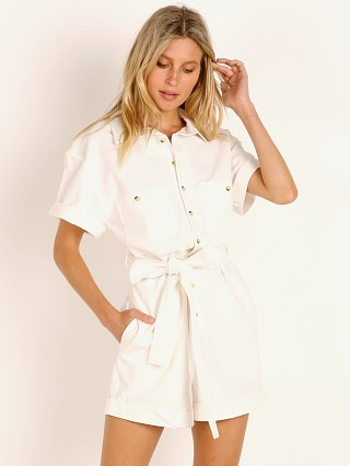 Model in vintage white Rollas Horizon Playsuit