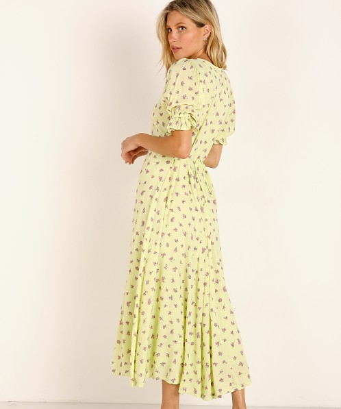 Faithfull the Brand Maggie Midi Dress Luda Lime Floral