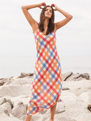 Solid & Striped Column Dress Beach Plaid