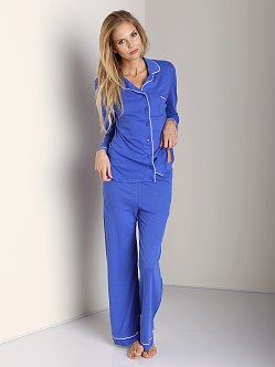 Only Hearts Organic Cotton Piped Pajama Set Satellite