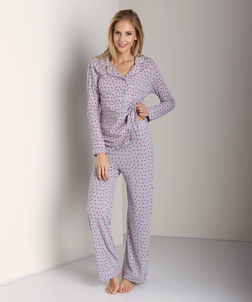 Only Hearts Organic Cotton Piped Pajama Set Pebble