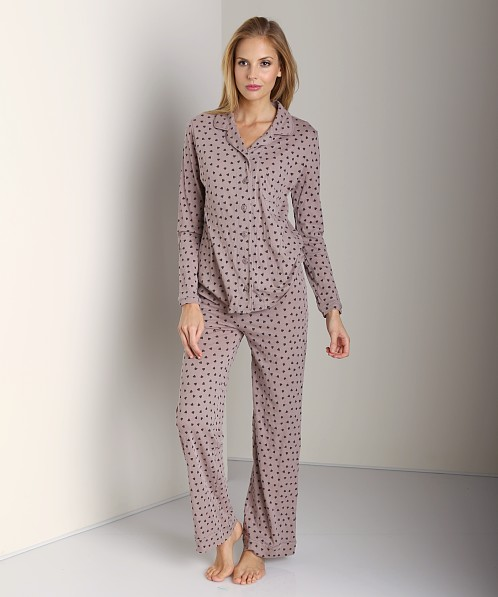 Only Hearts Organic Cotton Piped Pajama Set Walnut