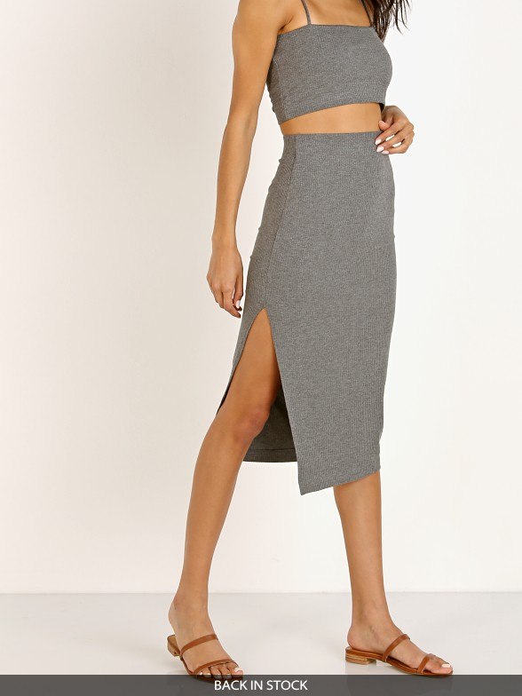 Stillwater The Rib Edit Skirt Charcoal
