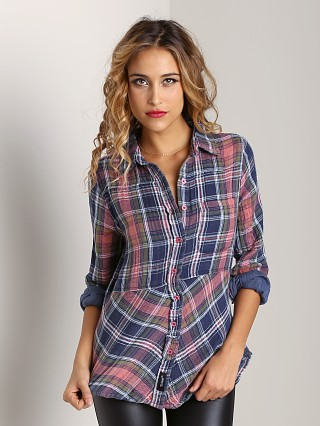Tolani Button Down Chrissy Shirt Blue