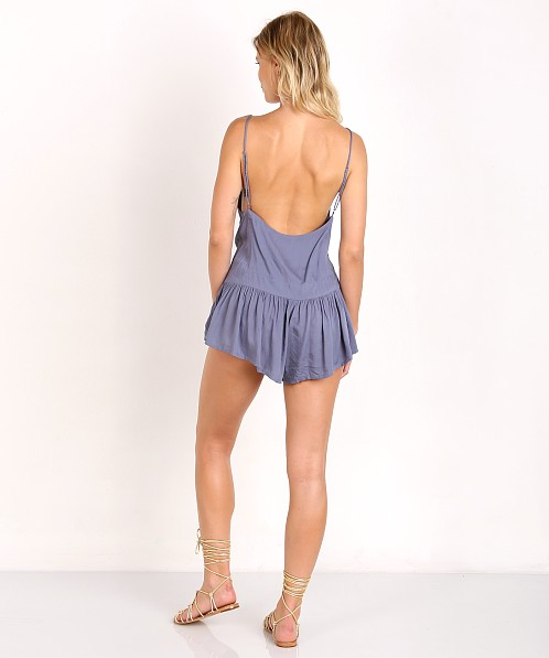 Indah Breeze Chiffon Triangle Patchwork Romper Denim Blue