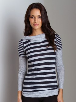 Three Dots Tri Blend Long Sleeve Navy Stripe Shirt
