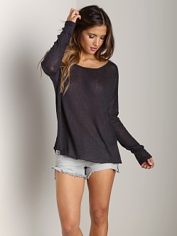Tylie Malibu Sweater Knit Split Back Top Dark Charcoal