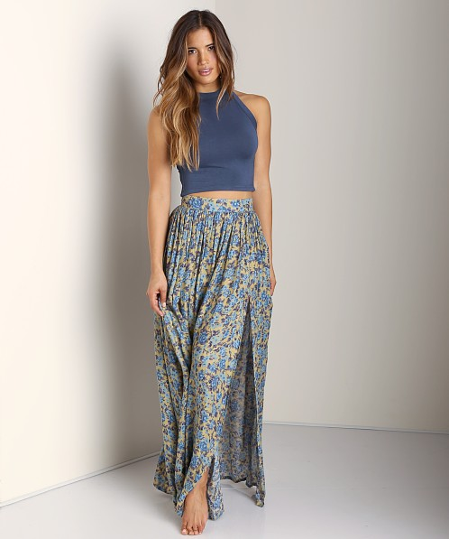 Novella Royale Strange Melody Maxi Skirt Blue Rose