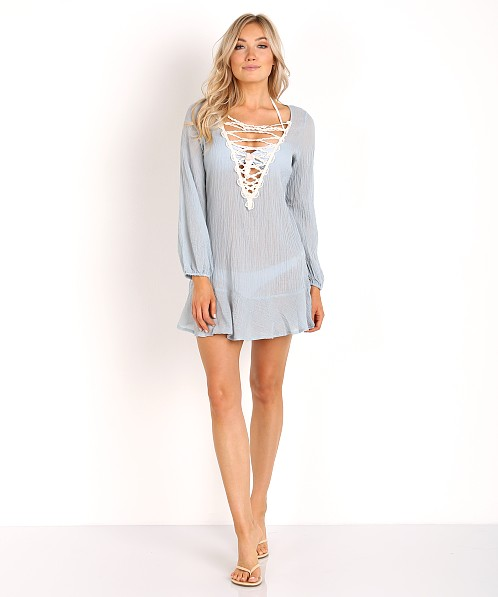 Eberjey Sea Breeze Natalya Cover Up Faded Blue/Ecru