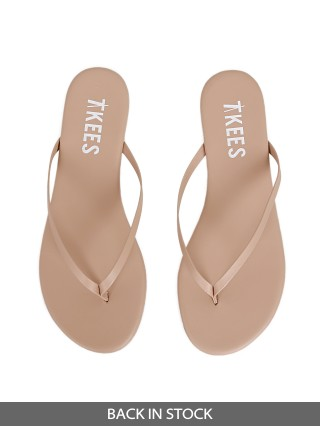 Model in no. 6 Tkees Solid Pigments Sandals