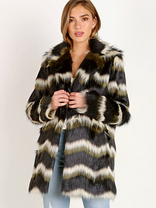 Model in faux fur olive Show Me Your Mumu Raymond Jacket Zig Zag