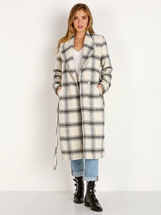 Model in fletcher plaid Show Me Your Mumu Hollis Jacket
