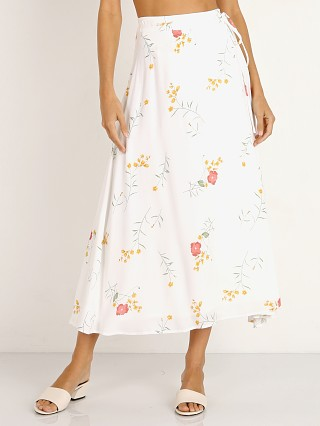 Model in cream floral Capulet Thea Midi Skirt