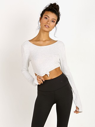 Spiritual Gangster Long Sleeve Tie Front Crop Heather Grey