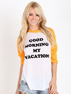 WILDFOX Good Morning Vacation 79 Raglan Clean White