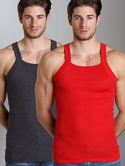 2xist 2-Pack Square Cut Tank Tops Charcoal/Red