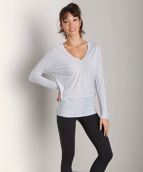 Beyond Yoga V-Neck Bias Top White Stripe