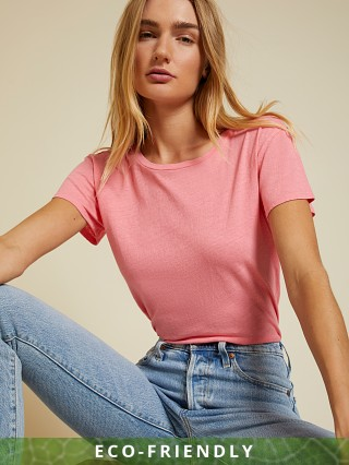 Model in flamingo Nation LTD Marie Recycled Cotton Boxy Crop