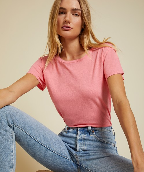 Nation LTD Marie Recycled Cotton Boxy Crop Flamingo