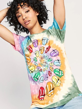 Model in rainbow Daydreamer The Rolling Stones Bigger Bang Weekend Tee
