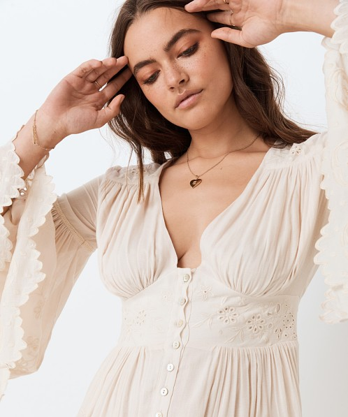 Spell & The Gypsy Imogen Embroidered Gown Cream