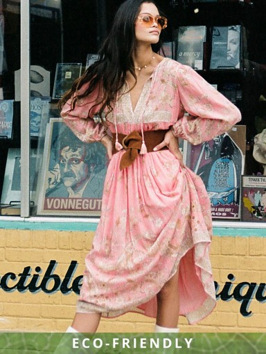 Spell & The Gypsy Hendrix Boho Dress Dusty Pink