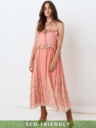 Model in dusty pink Spell & The Gypsy Hendrix Strappy Maxi Dress