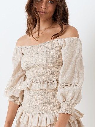 Model in biscuit Spell Lola Ruched Off Shoulder Top
