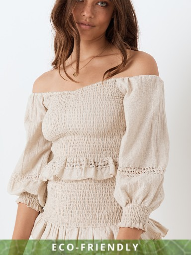 Spell & The Gypsy Lola Ruched Off Shoulder Top Biscuit