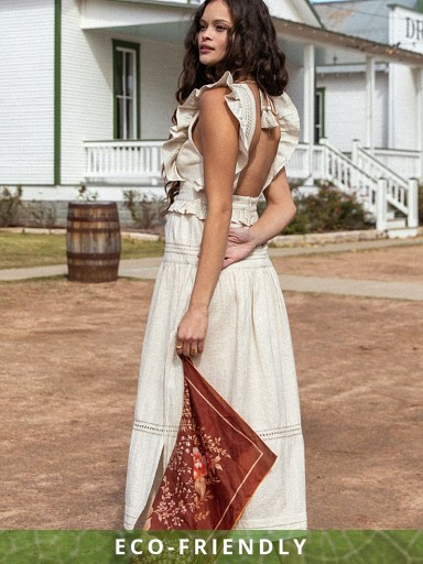 Spell & The Gypsy Lola Frill Maxi Dress Biscuit