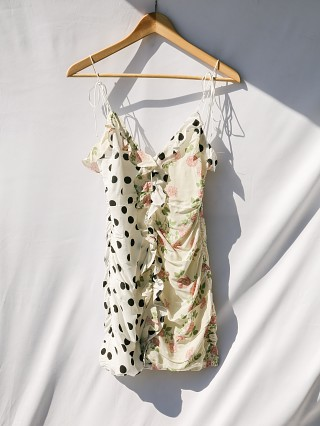 Second Chance For Love & Lemons Mochi Shirred Mini Dress